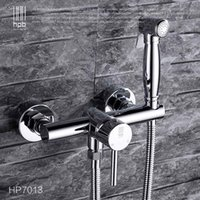 bidet bathroom - Han Pai Brass Hot and Cold Bathroom Bidet Faucet Toilet Portable Spray With Shower Holder Handheld Bidet HP7013