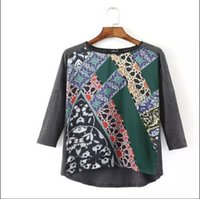 baroque print blouse - Streetwear O Neck Baroque Floral Ceramic tile mosaic Printed Knitted Patchwork Shirts Vintage Women Casual Pullover Blouses