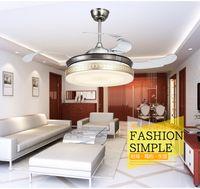 Wholesale Living room dining room lights LED fan stealth ceiling pendant fan lights retractable inch Golden fan lamp ceiling pendant fan