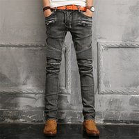 apparel biker - New Mens Fashion American Apparel Famous Brand Balmain Biker Jeans High Quality Men Jeans Skinny Denim Balmain Men s Jeans Casual Pants