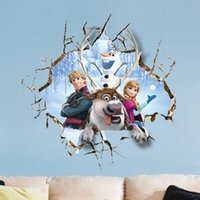 Wholesale Christmas Decoration Wall Stickers Wallpaper Rolls Removable Queen Anna Olaf Wall Decals Home Decor Sticker cm for Kids Room