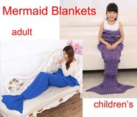 adult twin costumes - Mix Adult and Children s Mermaid Blankets Handmade Mermaid Tail Blankets Mermaid Tail Sleeping Bag Knit Sofa Nap Blankets Costume Cocoon