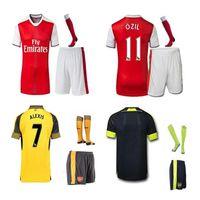 arsenal football socks - 2016 Arsenal Soccer Jerseys kits set socks Away yellow home WILSHERE OZIL WALCOTT RAMSEY ALEXIS XHAKA BELLERIN football shirt
