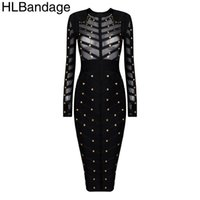 beaded nail fashion - Black Olive Green Studded Long Sleeve Rayon Mesh Nail Beaded Sexy Women New Fashion Bodycon HL Bandage Dress