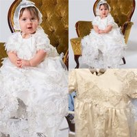 Wholesale Lovely Appliques Flowers Christening Dresses For Girls Jewel Neck Sleeves Soft Baptism Dress First Communion Gowns