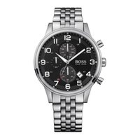 batteries suppliers - Factory Supplier New AAA Mens HB1512446 Chronograph Black Dial silver Bracelet Watch Original Box