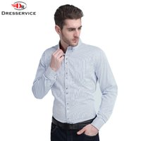 Wholesale DRESSERVICE New Men s Striped Long sleeved Shirt Large Size High end Business Casual Shirt Clothing Brand Dress Male