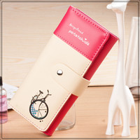 bicycle credit - Women Wallets Soft PU Leather Bicycle Pattern Hasp Long Lady Handbag Wallet Cards Holder Woman Clutch Coin Purse Moneybags Burse