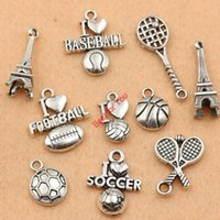 soccer jewelry - Mixed Tibetan Silver Plated Love Football Soccer Baseball Tower Charms Pendants Jewelry Making Diy Charm Handmade Crafts c064 jewelry making
