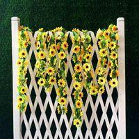 arched wall decor - 2m Artificial Yellow Sunflower Garland Silk Wedding Flowers Arch Gazebo Decor Vines Wedding Party Decoration
