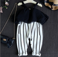 big carter - 2016 INS hot Summer clothes baby girl kids vintage chiffon stripe jumpsuits big collar sexy lace ruffles romper overall hollow out shoulder