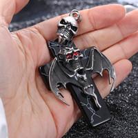 bat pendant - Large High Quality Titanium Stainless steel Biker Skull Cross bat Red Crystal Eyes Pendants Men s Rope Chain Necklace
