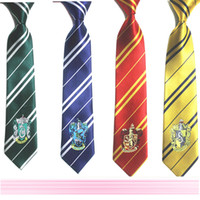 Wholesale Hogwarts School Harry potter tie gryffindor Slytherin Ravenclaw Hufflepuff badge ties necktie Neckwear Costume Accessory Tie cm E1136