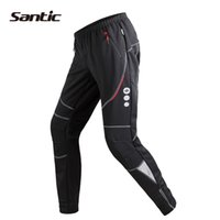 Wholesale Santic Men Sports Pants Winter Thermal Windproof Outdoor Casual Sports Trousers Pants Polyester Cycling Biking Long Pants