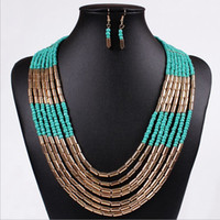 Wholesale New arrive High quality Summer jewerly major suit jewelry Bohemia style hand woven multilayered Beads Necklace sets of chain
