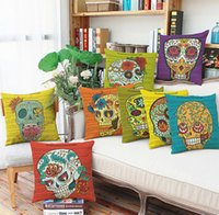 bedroom couches - Halloween cartoon printed Cotton linen Pillow Case Cover Square couch Backrest Pillow case House Bedroom office Sets A9430