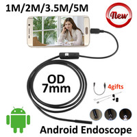 Wholesale 7mm Lens AndroidUSB Endoscope Camera M M M M Snake USB Waterproof Android Borescope Smart Phone Camera LED