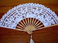 al por mayor ventiladores de baile japonés-Ventilador al por mayor japonés palacio bordado de encaje doble danza ventilador novia accesorios mano ventilador tamaño: 27 cm nupcial accesorios