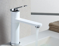 Wholesale white color brass waterfall basin tap bathroom faucet mixer torneira banheiro hot and cold water BF165