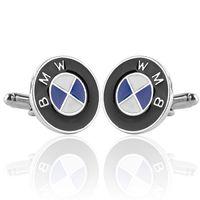 Wholesale Men Gift BMW Car Logo Cufflinks retail Alloy Material Hotsale Car Design White Blue Black Enamel Cuff Buttons