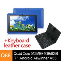Wholesale 7 inch Q88 Pro Quad Core Dual Cameras A33 Android Tablet PC MB G G Bluetooth Wifi Capacitive Screen