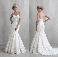 Wholesale 2017 Gorgeous Wedding Dresses Mermaid Style Full Lace Plus Size Strapless Sweetheart Neck Sweep Train Beaded Beach Custom Made Bridal Gowns