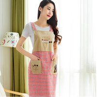 Wholesale NEW Women Household Apron Home Kitchen Aprons Korean Fashion Style Long Sleeved Or Non Sleeve Cotton Wearing