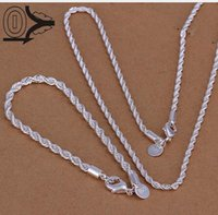 Wholesale 925 Silver Jewelry Sets Fashion mm Twisted Rope inch Necklace Bracelet S051