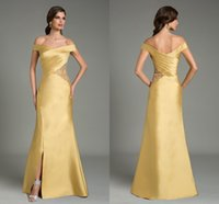 award beadings - Gold Evening Dresses Award Dresses Formal Dresses Evening Cheap Price Off Shoulder Neck Beadings Long Dress Split Dress Floor Length Hot