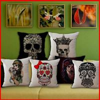 Cheap Vintage Punk pirate Skeleton Skull Cotton Linen cushion cover Throw Pillow cases Bedding sets Throw Pillow Cases Pillowslip 240369