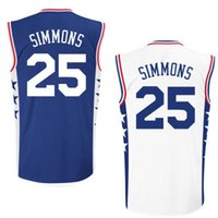 Wholesale 2016 new style Ben SIMMONS in white shirts blue jerseys all logos stitched with good making