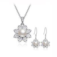 Ensemble de bijoux en argent massif et élégant en 925 avec perles naturelles, pendentif et pendentif pour bijoux de mariage inclus Vente en gros SE00228