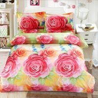 achat en gros de roses jaunes de literie-Yellow Red Roses Reactive Imprimé Housse de couette drap de lit Taie Set pour 1.8m lit, 4pcs Literie Literie Cadeau
