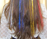 Wholesale Hot Sale Colorful Popular Colored Clip On In Straight Colored silver flicker Hair Extensions Straight hair wig Hot Fashion Women candy