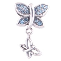 antique tibetan beads - Tibetan butterfly charms fits pandora silver bracelets antique S925 sterling silver material LW501S034H9