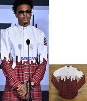 Wholesale Hot fashion New men plaid shirt street wear star with white plaid shirt tide brand