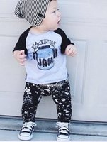 Wholesale New autumn baby boy clothing sets causal cotton long sleeve cartoon pattern t shirt pants newborn suit baby clothes