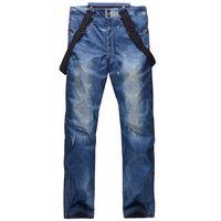 adult snow pants - HOT SALE Men s Jean Snowboard Pants Suspenders Denim Ski Pants Mens Skate Snow Board Waterproof Thermal Pants Adult Pantalones Man s Braces