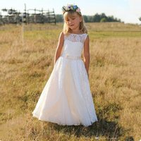 Wholesale White Flower Girls Dresses New Style with Lace Sashes Hollow Back A Line Sheer Scoop Neckline Ivory Communion Dresses