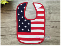 bid shipping - Infant American Flag Star saliva towels Baby Waterproof bibs Baby Burp Cloths kids cotton Bilayer Bids E1048