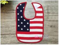 bid shipping - Infant American Flag Star saliva towels Baby Waterproof bibs Baby Burp Cloths kids cotton Bilayer Bids E1048