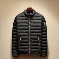 Wholesale Fall Size L XL Blue Khaki Black Men Winter Fashion Style Stand Collar Cotton Down amp Parkas Long Sleeves Coat and Jacket Free Ship