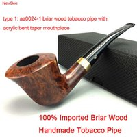Cheap Wholesale-NewBee 10 Tools Kit Briar Wood Handmade Tobacco Pipes Metal Loop Decor Bent Smoking Pipe with 9mm Filter Masculine Gifts aa0024