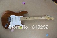 Wholesale HOT Custom Body Natural wood F stratcoster st Tiger Brown Electric Guitar