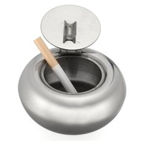 Wholesale pc All Stainless Steel Cigarette Ashtray Home decoration Drum Shape Smokers Ash Container Tobacco Tray Smoking Accessories