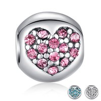 Wholesale 30pcs S925 Silver Plated Alloy Charm Heart Love Colors CZ Exquisite Original Beads fit Pandora Bracelet DIY Jewelry For Woman A274
