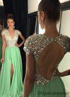Cheap 2016 MInt Green Rhinestones Prom Dresses Deep V-neck Tight -High Split Evening Dress Long Cap Sleeve Backless Pageant Gown Luxury