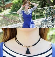 acting ropes - The European and American gothic flower velvet rope tassels neck collar necklace short necklace women act the role ofing is tasted