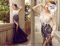 Compra Karin gracia larga-Vestido de noche de sirena larga Grace Karin Blanco Negro Azul Rojo Oro Appliques palabra de longitud Mujeres Vestidos Formal Elegante vestidos de fiesta