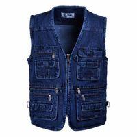 Wholesale Mid aged Men s Denim Vest Outdoor Camping Hunting Jeans Vest With Many Pockets Plus Size Photography Vest Sleveless Jacket Men